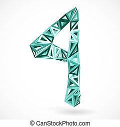 vier, triangles., geometrisch, getal