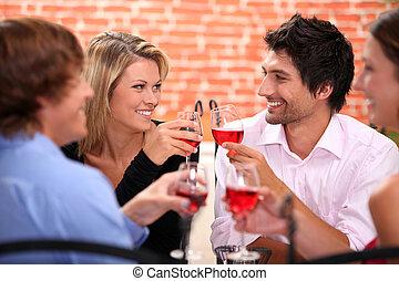 vier, trinken, friends, gasthaus