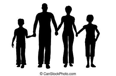 vier, vector, gezin