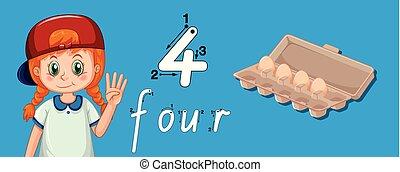 vier, verfolgen, zahl, schreibende