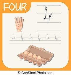 vier, verfolgen, zahl, worksheets