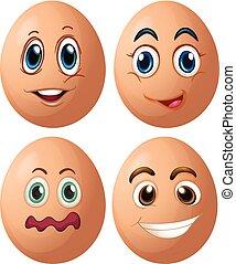 vier, verschieden, eier, gesichtsausdrücke