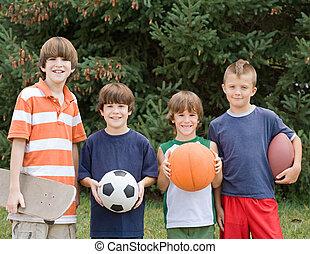 vier, verschieden, sport