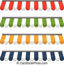 vier, verschieden, vektor, gefärbt, markisen
