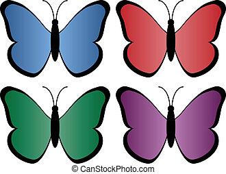 vier, vlinders, gefärbt
