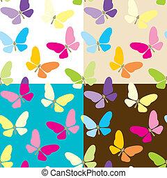 vier, vlinders, hintergrund