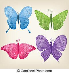 vier, vlinders, satz