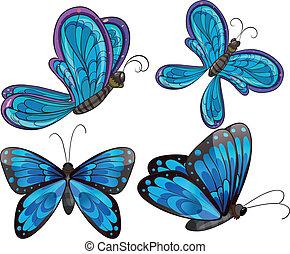 vier, vlinders