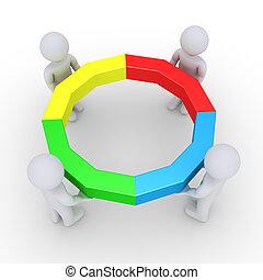 vier, volbracht, cirkel, vasthouden, mensen