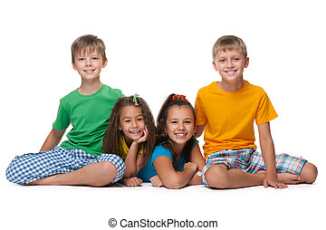 vier, vrolijke , kinderen