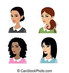 vier, vrouw, set, gezichten