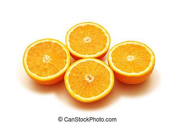 vier, weißes, half-cut, freigestellt, orangen