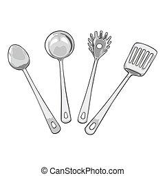 vier, werkzeuge, für, kochen