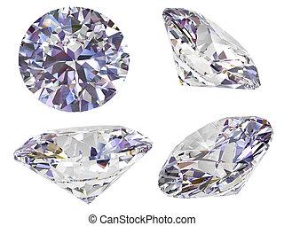 vier, witte , diamant, vrijstaand, aanzicht