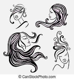 vier, women., mooi