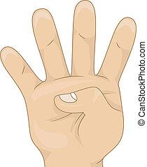 vier, zählen, ausstellung, kids's, hand