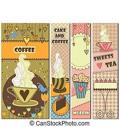 vier, zoet, koffie, banieren, dessert