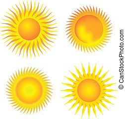 vier, zonnen, verzameling