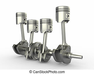 vier, zuigers, cilinder, engine., crankshaft.