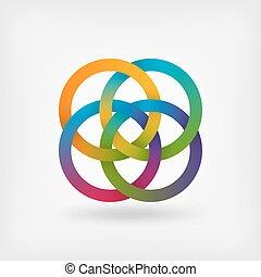vier, zusammengefügt, ringe, in, regenbogenfarben