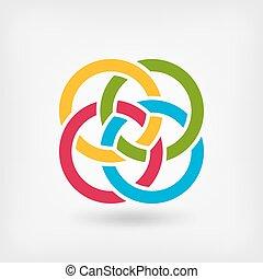vier, zusammengefügt, ringe