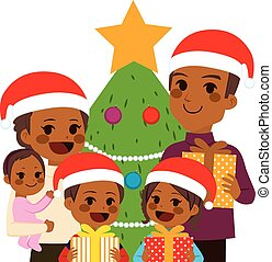 vieren, amerikaan, kerstmis, gezin, afrikaan
