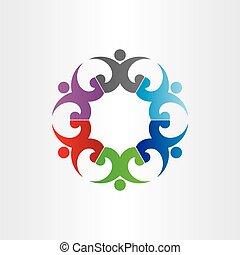 vieren, cirkel, groep, feestje, mensen