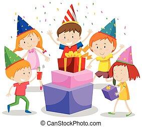 vieren, groep, kinderen