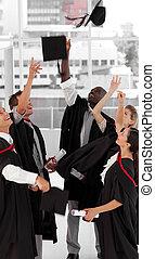 vieren, hun, groep, afgestudeerd, mensen