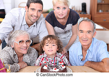 vieren, jarig, gezin, samen