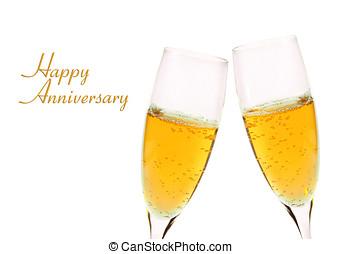 vieren, jubileum, met, glas champagne