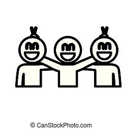 vieren, mensen, teamwork, groep