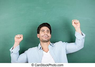 vieren, overwinning, chalkboard, tegen, leraar