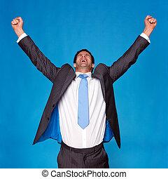 vieren, verheven, zakenman, armen, lucht