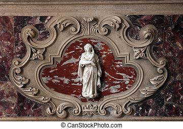 vierge marie, détail, de, les, autel