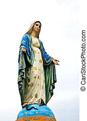 vierge marie, statue, à, chantaburi, province, thailand.