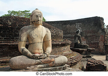 vierhoek, polonnaruwa, sri, heilig, vatadage, lanka