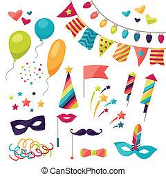 viering, carnaval, set, van, iconen, en, objects.