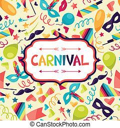 viering, feestelijk, achtergrond, met, carnaval, iconen, en,...