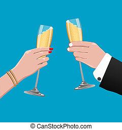 viering, kaart, wijntje