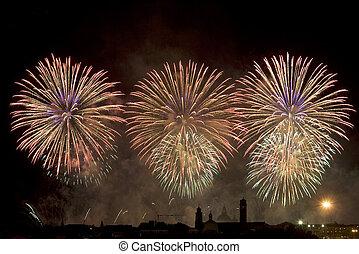 viering, vuurwerk