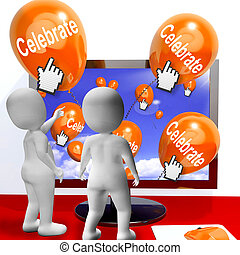 vieringen, internet, partijen, ballons, vieren, betekenen