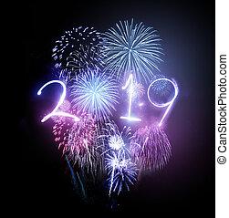 vieringen, vuurwerk, 2019, jaar, nieuw, vrolijke