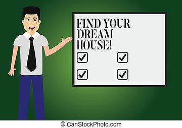 vierkante kleur, foto, house., grondig, klesten, leeg, thuis, jouw, perfect, flat, schrijvende , vinden, tekst, board., vastknopen, zakelijk, het tonen, hand, conceptueel, man, het voorstellen, eigendom, droom
