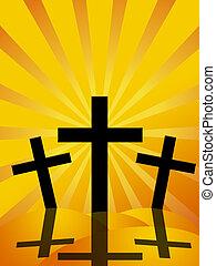 viernes santo, pascua, día, cruces, rayos sol, plano de...