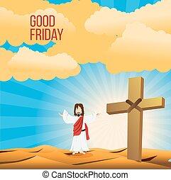 viernes santo, plano de fondo, concepto, ilustración, de, jesucristo, con, brazo, abierto de par en par
