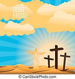 viernes santo, plano de fondo, concepto, ilustración, un, estatua, de, cristo redentor, con, brazo, abierto de par en par
