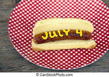 viert juli, heißer hund