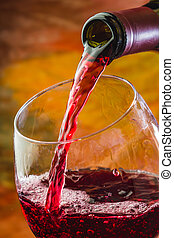 vierte, vidrio, botella, vino