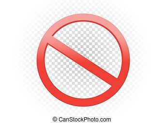 vietare, simbolo, segno, bando, trasparente, rosso